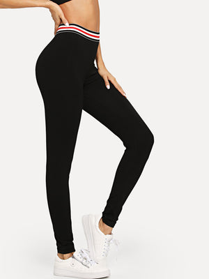 Tights For Women - Waist Striped Skinny Leggings