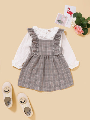 Toddler Girls Frill Top With Plaid Ruffle Pinafore Dress