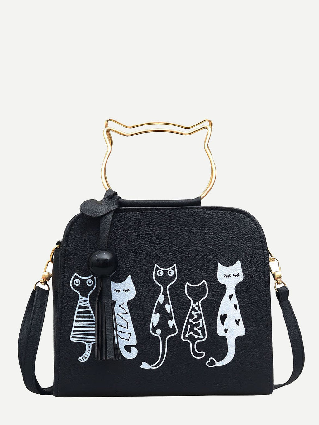 Womens Bags - Cartoon Print PU Shoulder Bag With Cat Ear Handle
