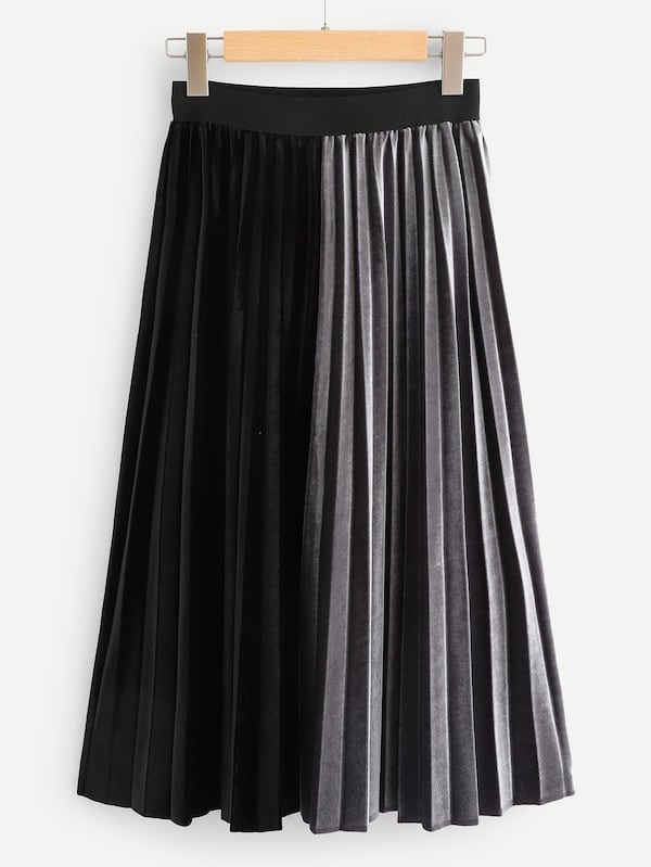 Plus Size Maxi Skirts - Velvet Two Tone Pleated Skirt