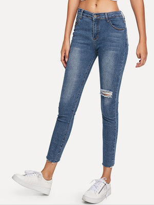 Jeans For Women - Asymmetrical Ripped Solid Jean