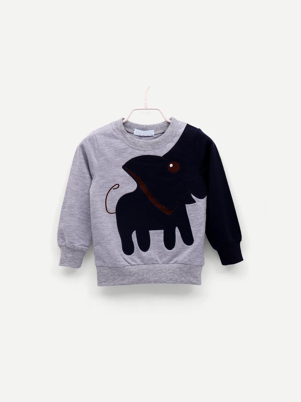 Toddler Boy Sweatshirt - Elephant Pattern Letter Print
