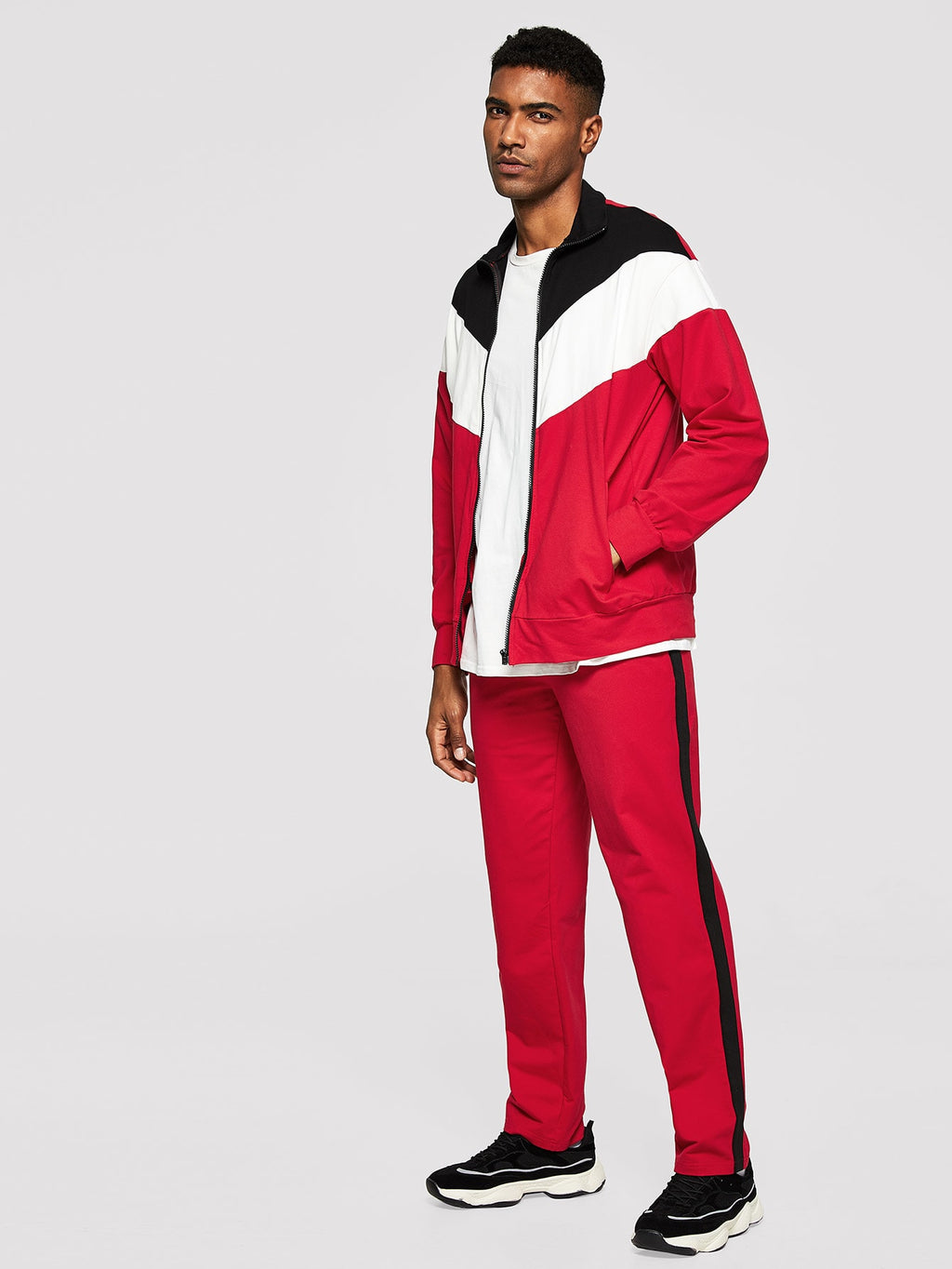 Men's Tracksuit - Zip Up Color-Block Sweatshirt & Pants Set
