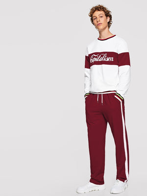 Men's Tracksuit - Striped Trim Lettering Top & Pants Set