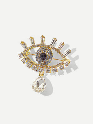 Womens Brooches - Rhinestone Eye Shaped Brooch