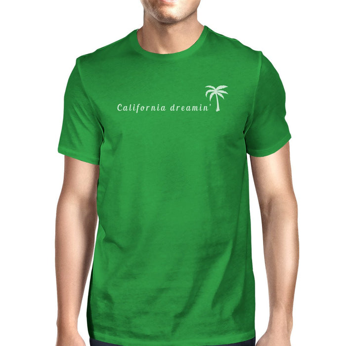 California Dreaming Mens Green Graphic Tee Crew Neck Summer T-Shirt