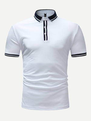 Men's Tops - Varsity Striped Polo Shirt