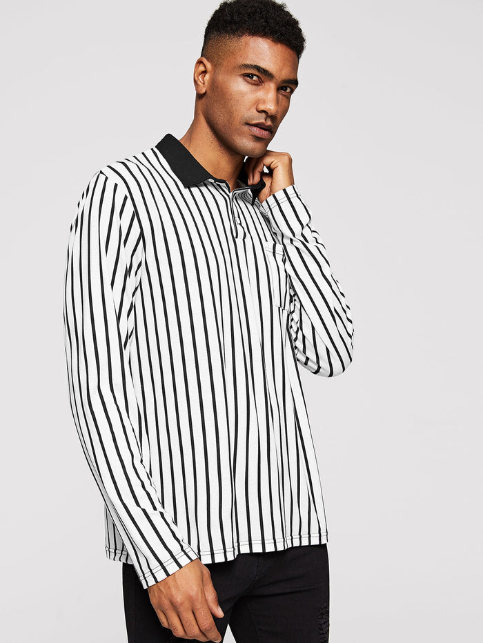 Men's Polo Shirts - Contrast Collar Pocket Patched Striped Polo Shirt