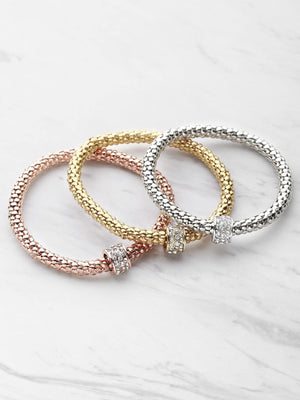 Bracelets For Women - Rhinestone Embellished Metal Bracelet Set