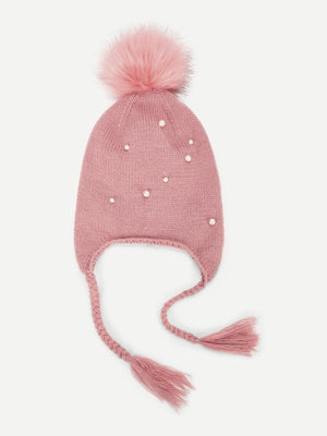 Girls Hats - Pompom Decorated Beanie Hat With Braids
