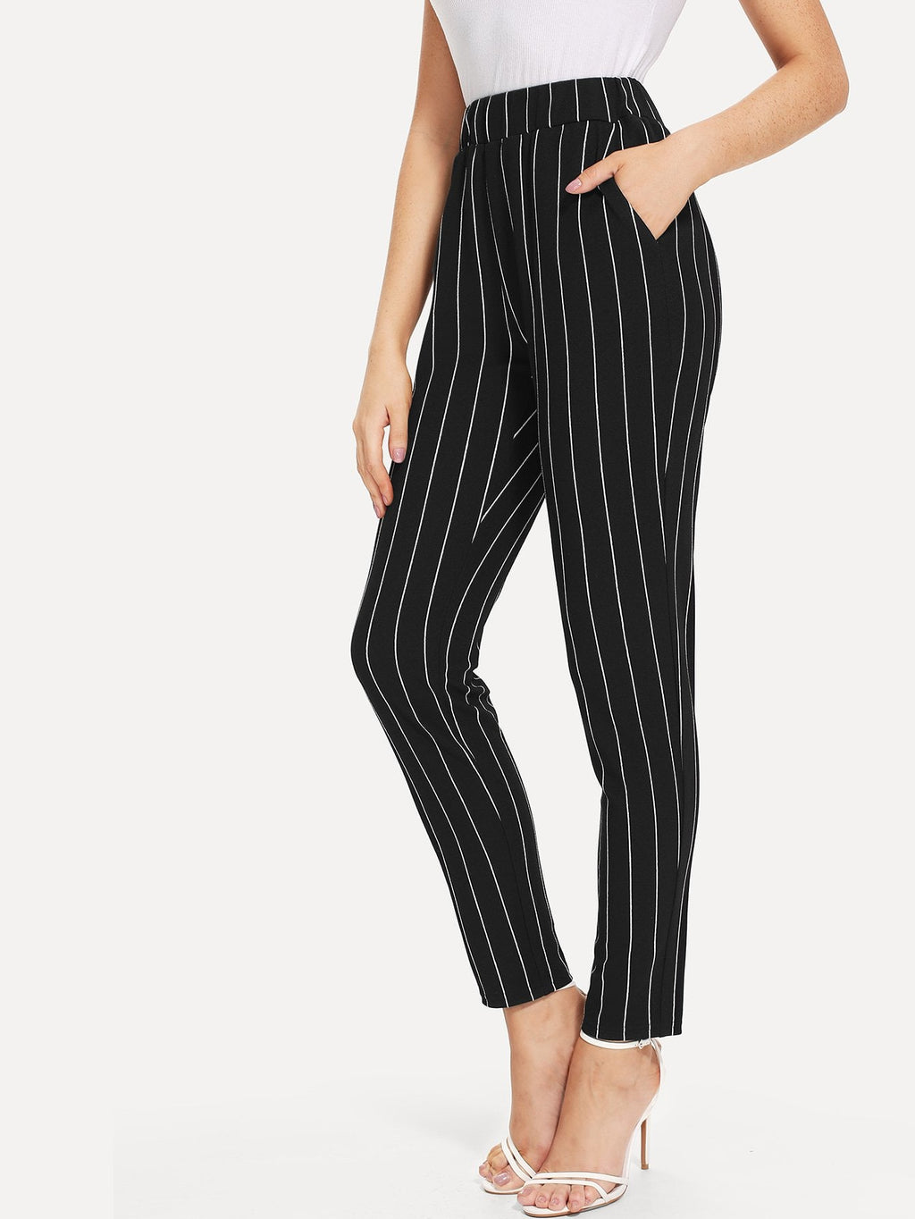 Dress Pants For Women - Elastic Waist Pinstripe Cigarette Pants