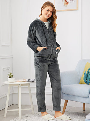 Pajamas For Women - Letter Patched Fluffy Hooded Pajama Set