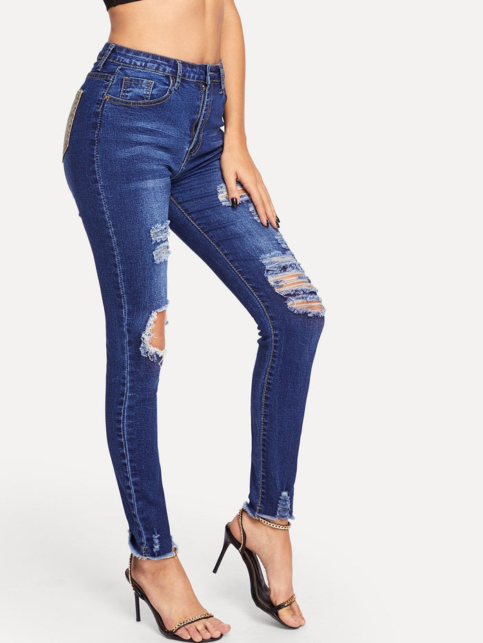 Ripped Jeans For Women - Snake Pocket Destroyed Jeans