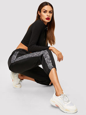 Pants For Women - Contrast Tape Snake Print Side Pants