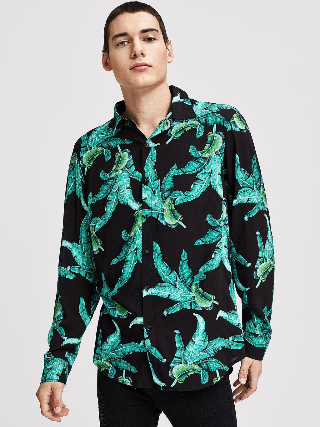 Holiday Shirts For Men - Button Front Plants Print Shirt