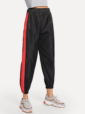 Pants For Women - Contrast Tape Side Pants