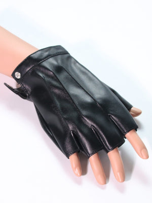 Leather Gloves - Men Half Finger Gloves