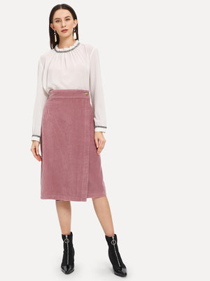 Cotton Skirts - Wrap Corduroy Pencil Skirt