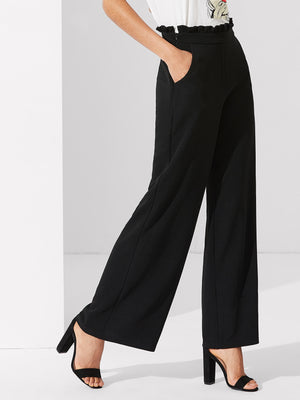 Pants For Women - Frill Waist Wide Leg Pants