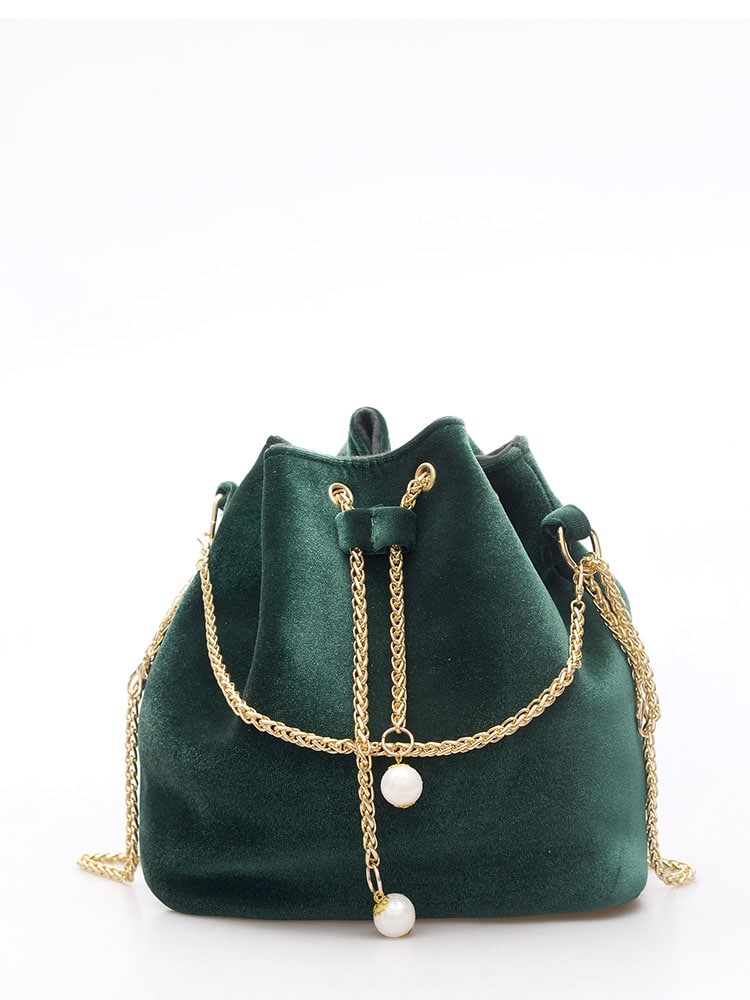 Purse For Women - Drawstring Bucket Chain Bag