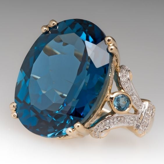 Rings For Women - 18 K Yellow Gold Filled Round Blue Sapphire
