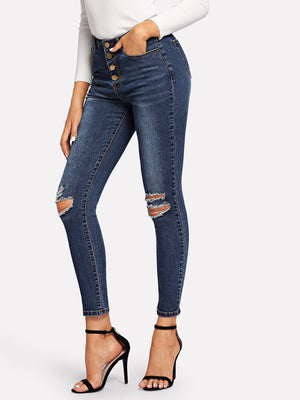 Skinny Jeans - Ripped Detail Washed Jeans