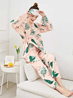 Night Dress For Women - Flower Print Wrap Pajama Set