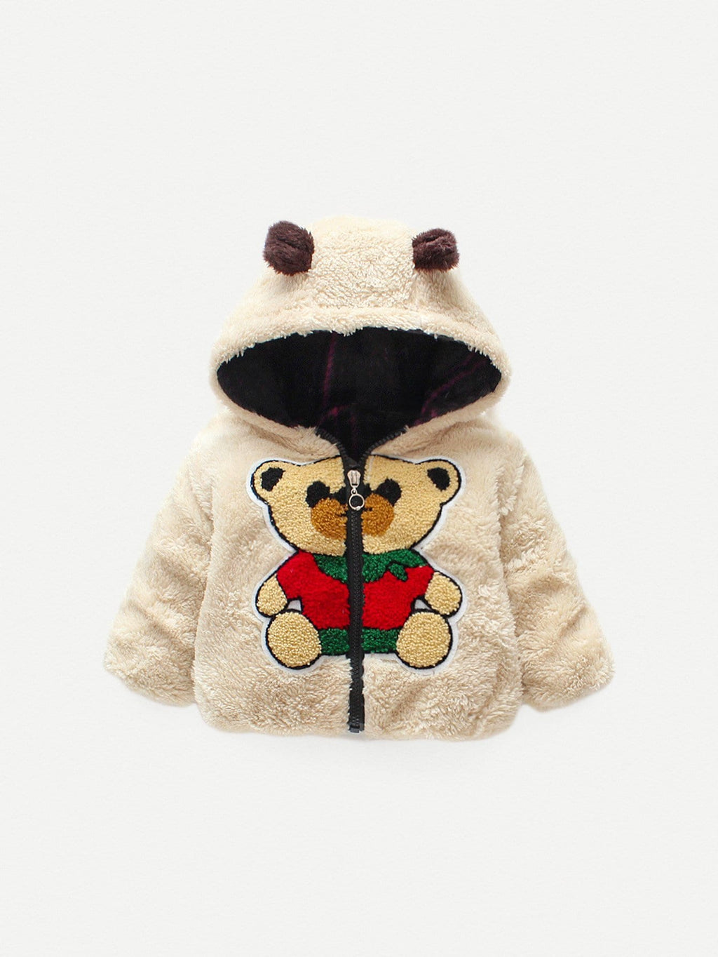Toddler Boy Jackets - Bear Pattern Hooded Teddy Jacket