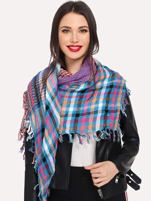 Scarves For Women - Fringe Hem Plaid Scarf
