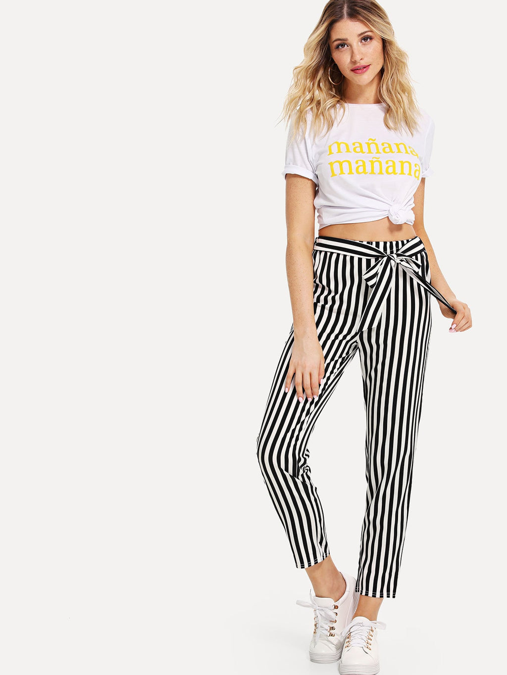 Pants For Women - Self Tie Waist Striped Pants