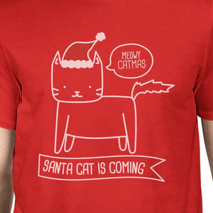 Meowy Catmas Santa Cat Is Coming Mens Red Shirt