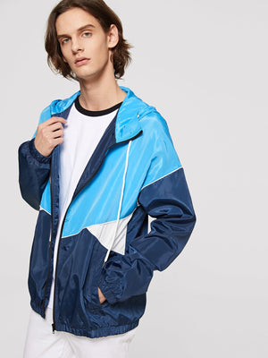 Workout Jackets - Men Zip Up Hooded Color-Block Jacket