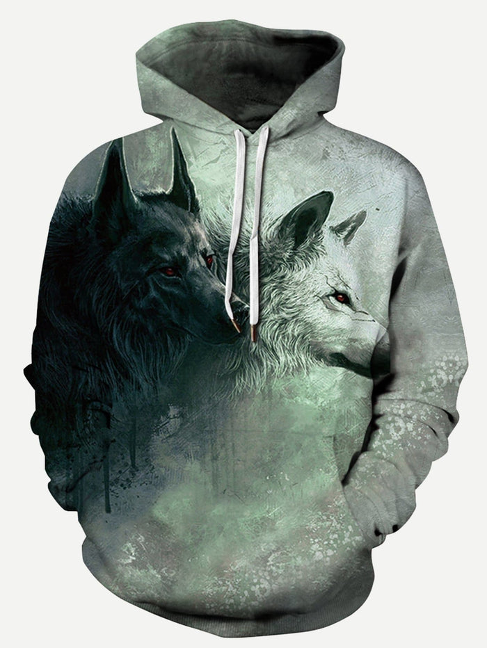 Pullover Hoodies - Men 3D Wolf Print Hooded Sweatshirt