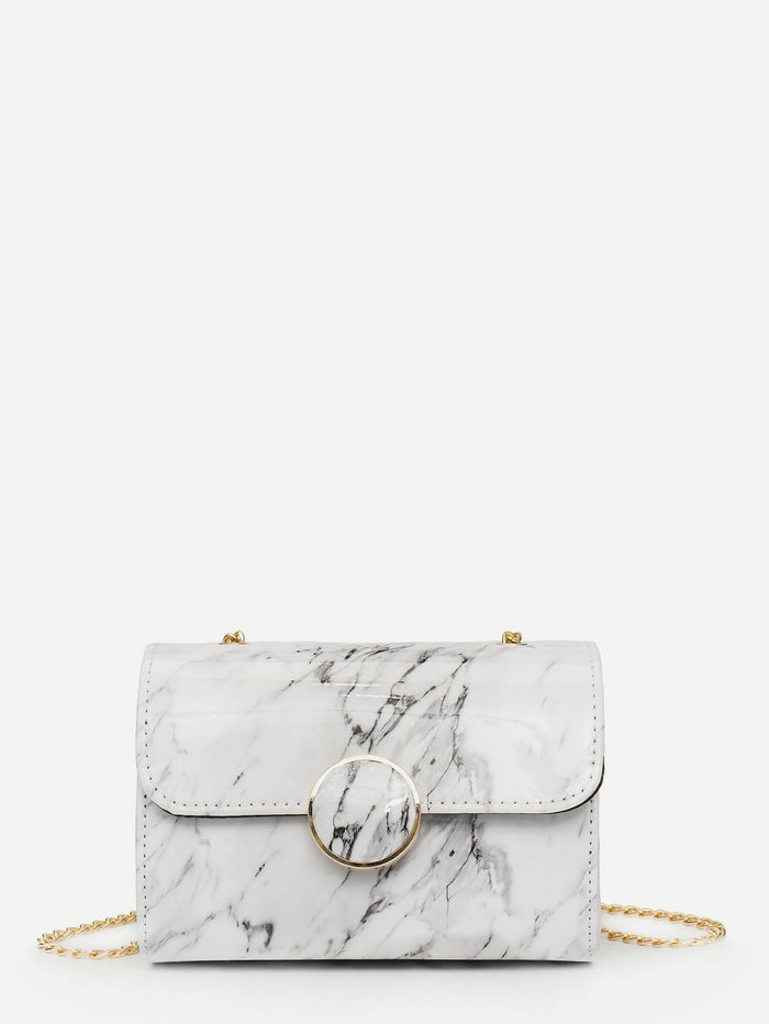 Bags For Women - Metal Ring Decor Marble Print Chain Bag