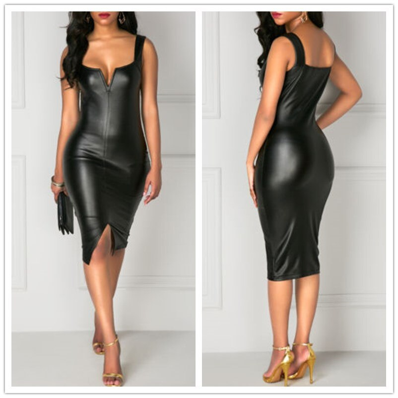 Fashion Casual Women Sheath Holiday PU Leather Bandage Bodycon Front Split Sleeveless Club Party Summer Short Mini Dress Black