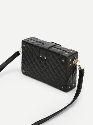 Wristlets - Push Lock Quilted Design Crossbody Bag