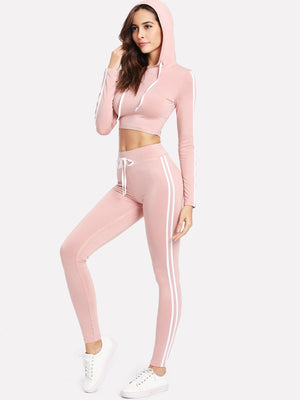 Workout Clothes for Women - Striped Side Crop Hoodie With Sweatpants Set