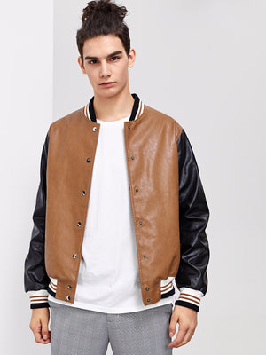 Workout Jackets - Men Press Button Up PU Bomber Jacket