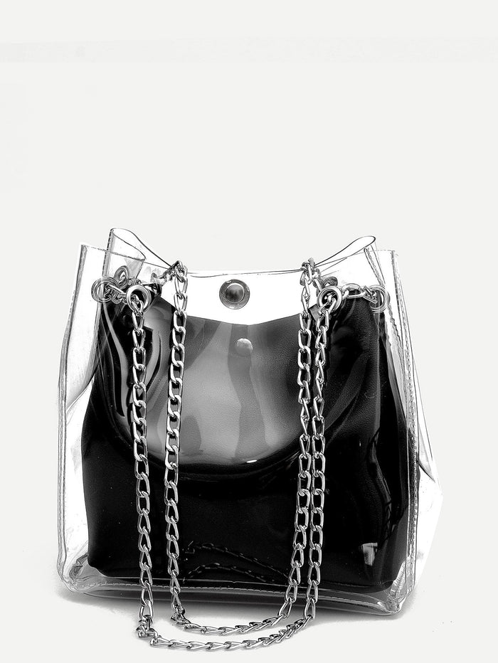 Tote Bags - Clear Chain Tote Bag With Inner Pouch