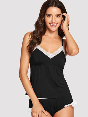 Night Dress For Women - Contrast Lace Cami Pajama Set