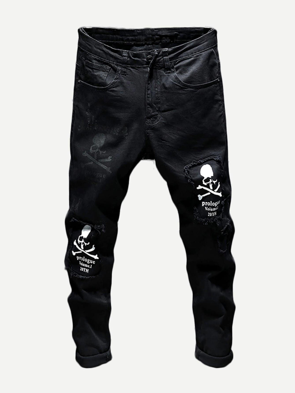 Men's Denim - Skull And Letter Print Jeans