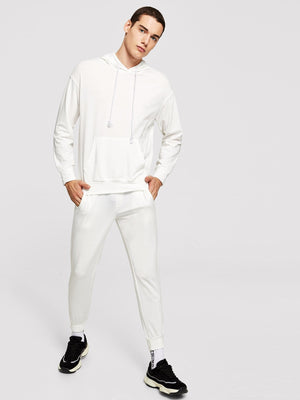 Men's Tracksuit - Drawstring Hoodie Top & Pants Set