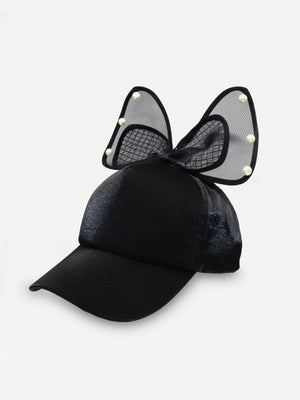 Kids Caps - Girls Faux Pearl & Bow Decorated Baseball Cap
