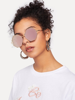 Cheap Sunglasses - Metal Frame Polygon Sunglasses