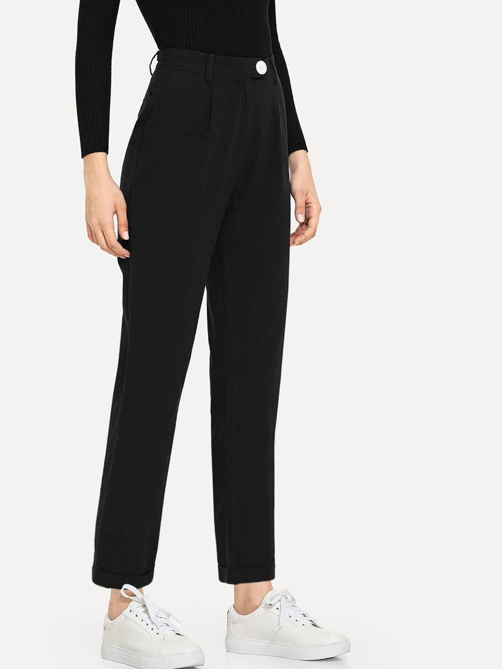 Pants For Women - Slant Pocket Solid Pants