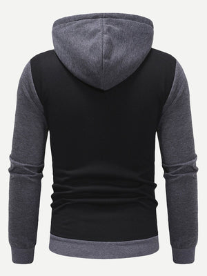Joggers For Men - Contrast Panel Zip Up Hoodie With Drawstring Pants