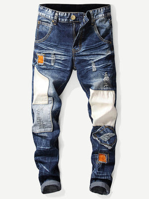 Denim Jeans - Men Patched Destroyed Jeans