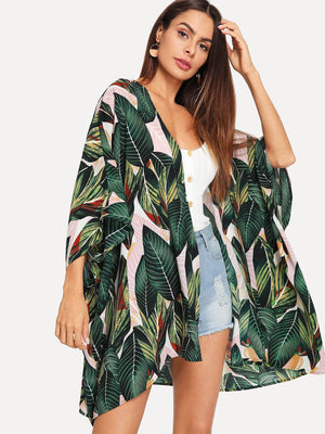 Kimono Cardigan - Jungle Leaf Print Batwing Sleeve