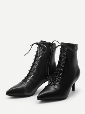 Women Boots - Solid Lace-up Boots