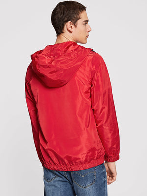 Training Jackets - Men Zip Half Placket Hooded Jacket